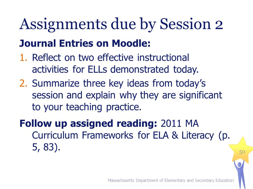 Assignments due by Session 2