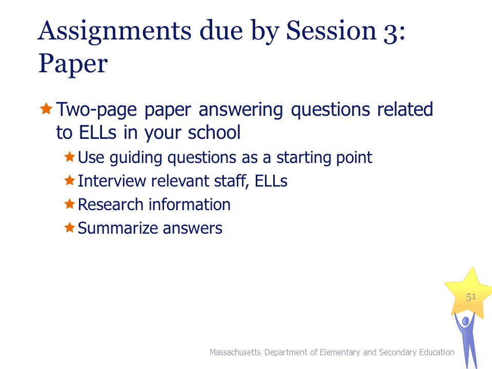 Assignments due by Session 3: Paper