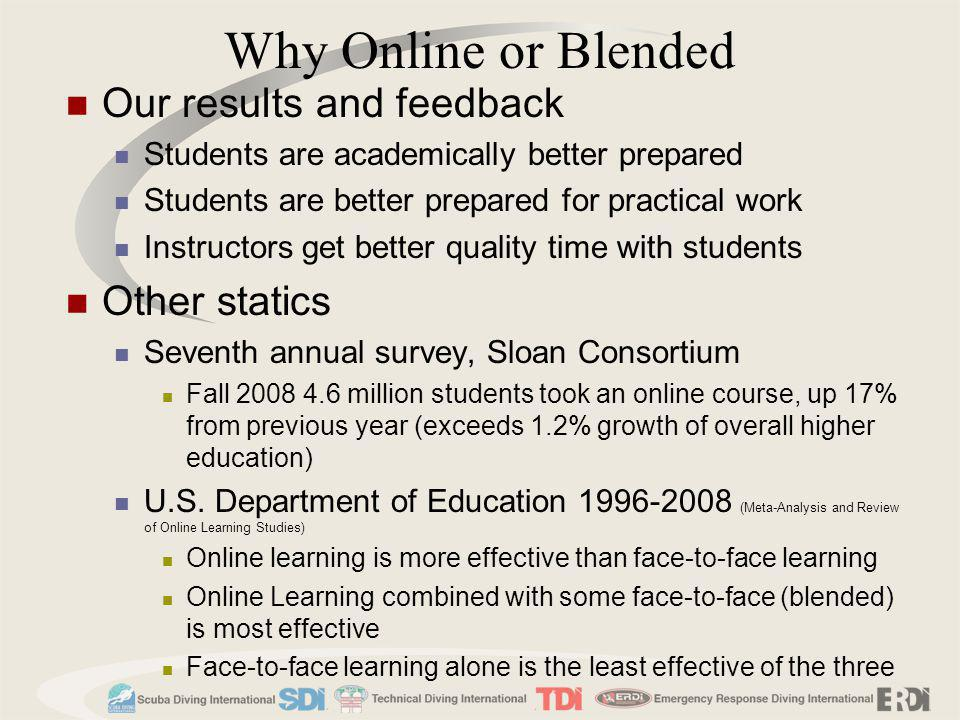 Why Online or Blended Our results and feedback Other statics