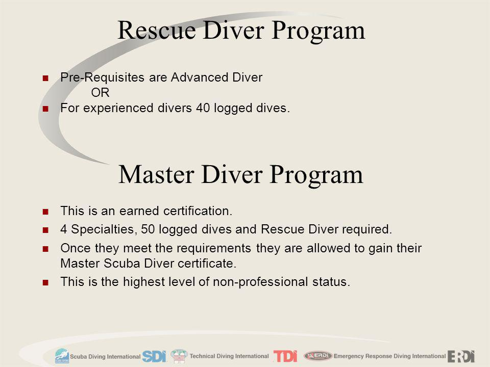 Rescue Diver Program Master Diver Program