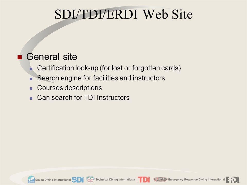 SDI/TDI/ERDI Web Site General site