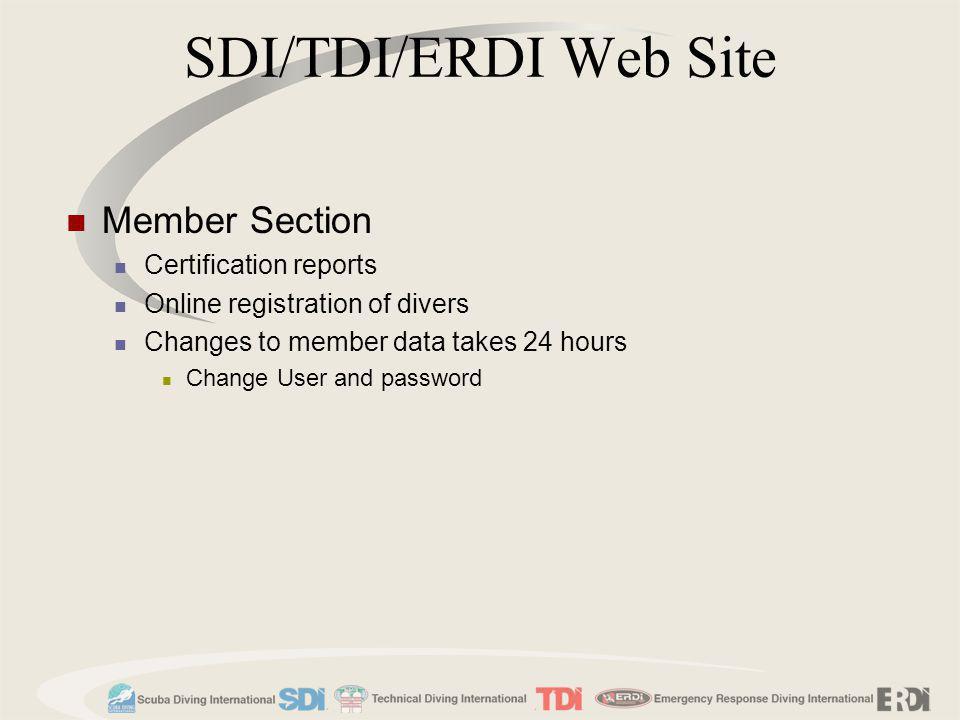 SDI/TDI/ERDI Web Site Member Section Certification reports