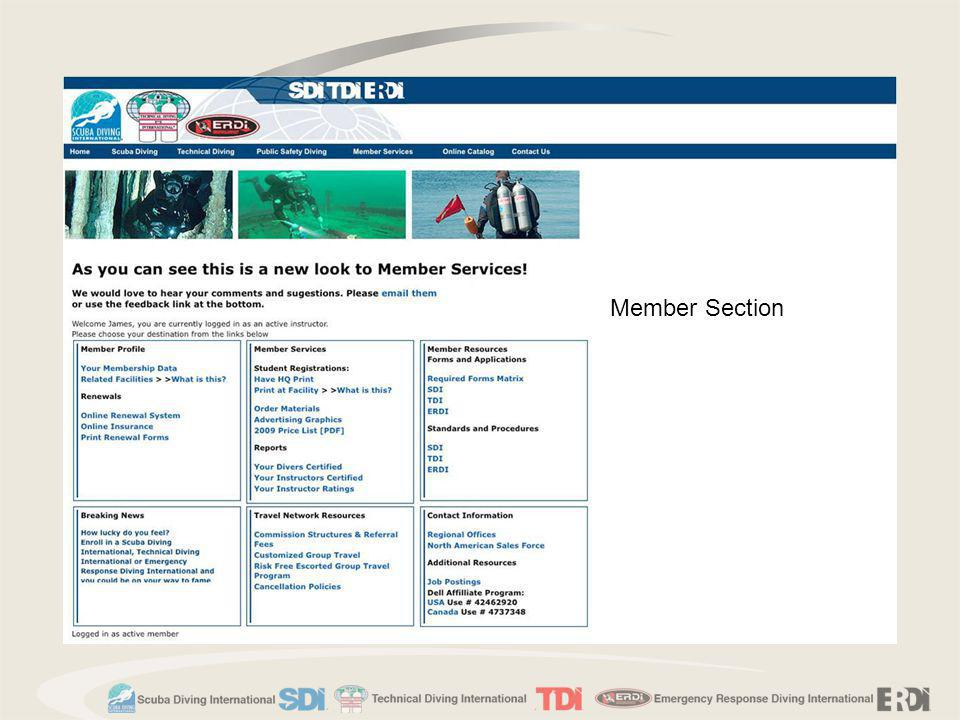Member Section Presenter demonstrate how to access information in the Member's Service Page. Member Service Page.