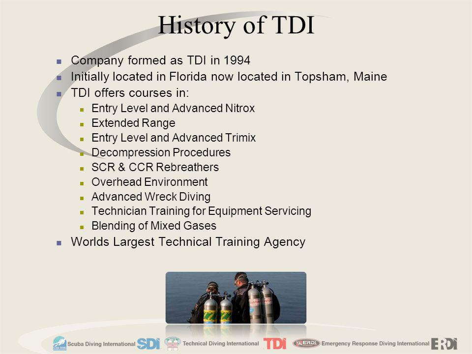 History of TDI Company formed as TDI in 1994