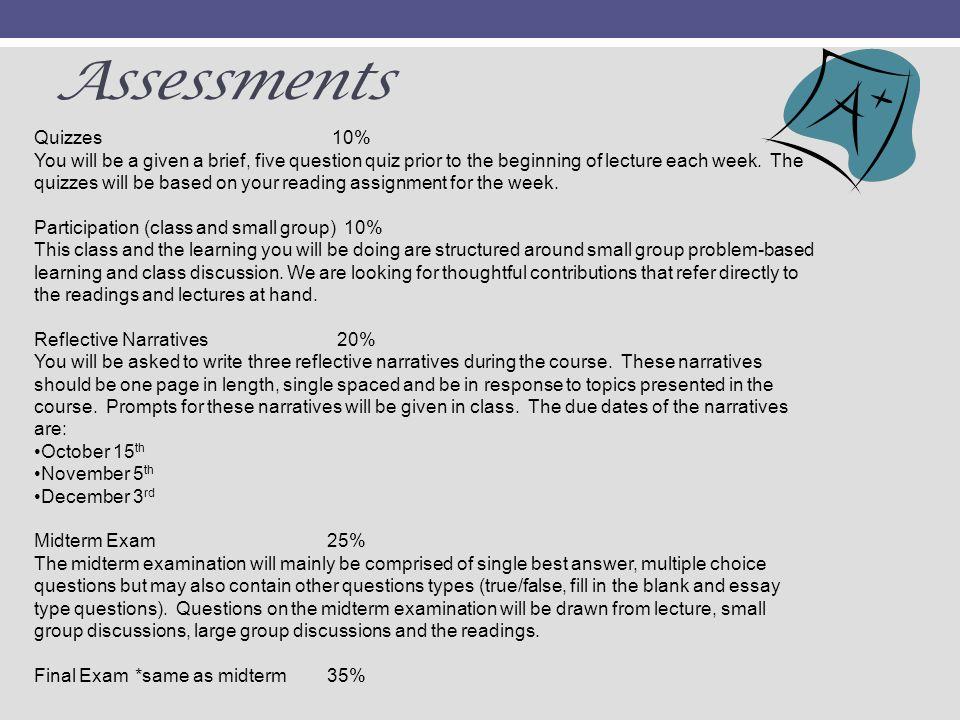 Assessments Quizzes 10%