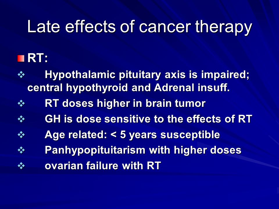 Late effects of cancer therapy