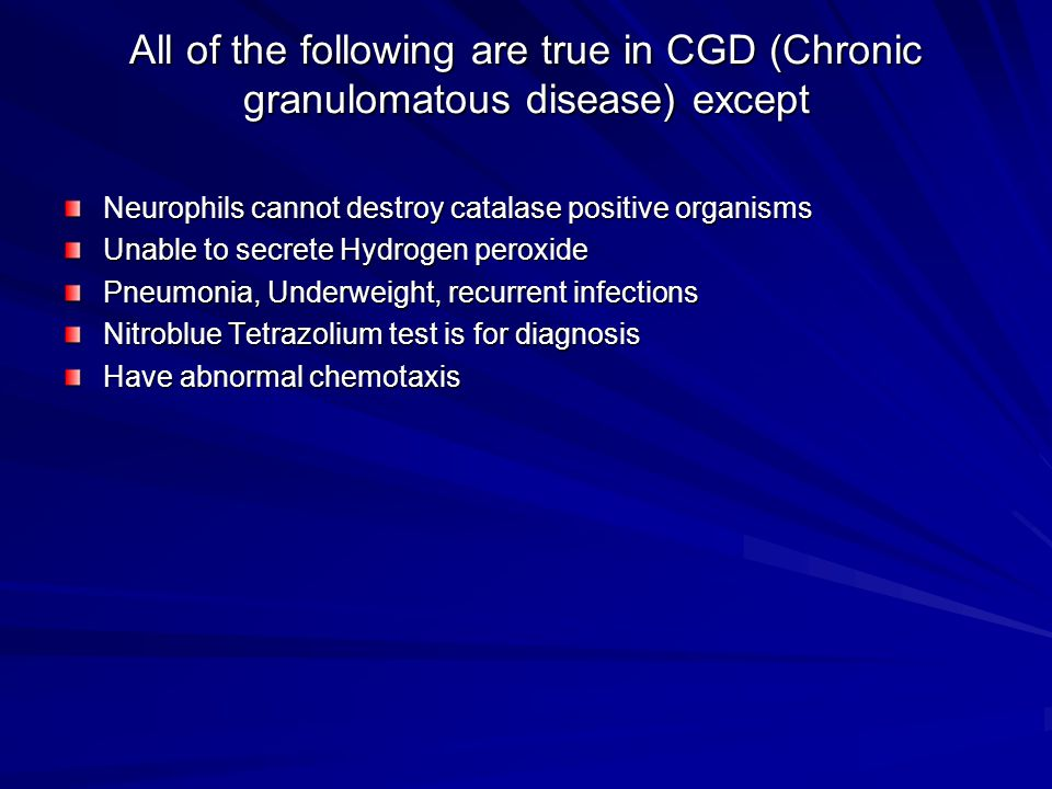 All of the following are true in CGD (Chronic granulomatous disease) except