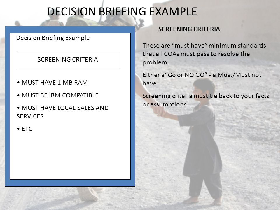 DECISION BRIEFING EXAMPLE