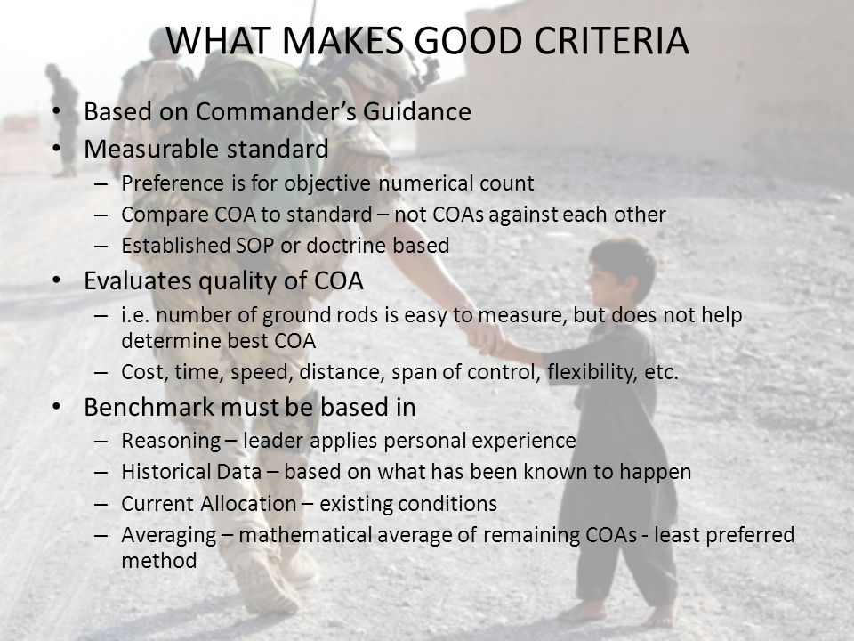 WHAT MAKES GOOD CRITERIA