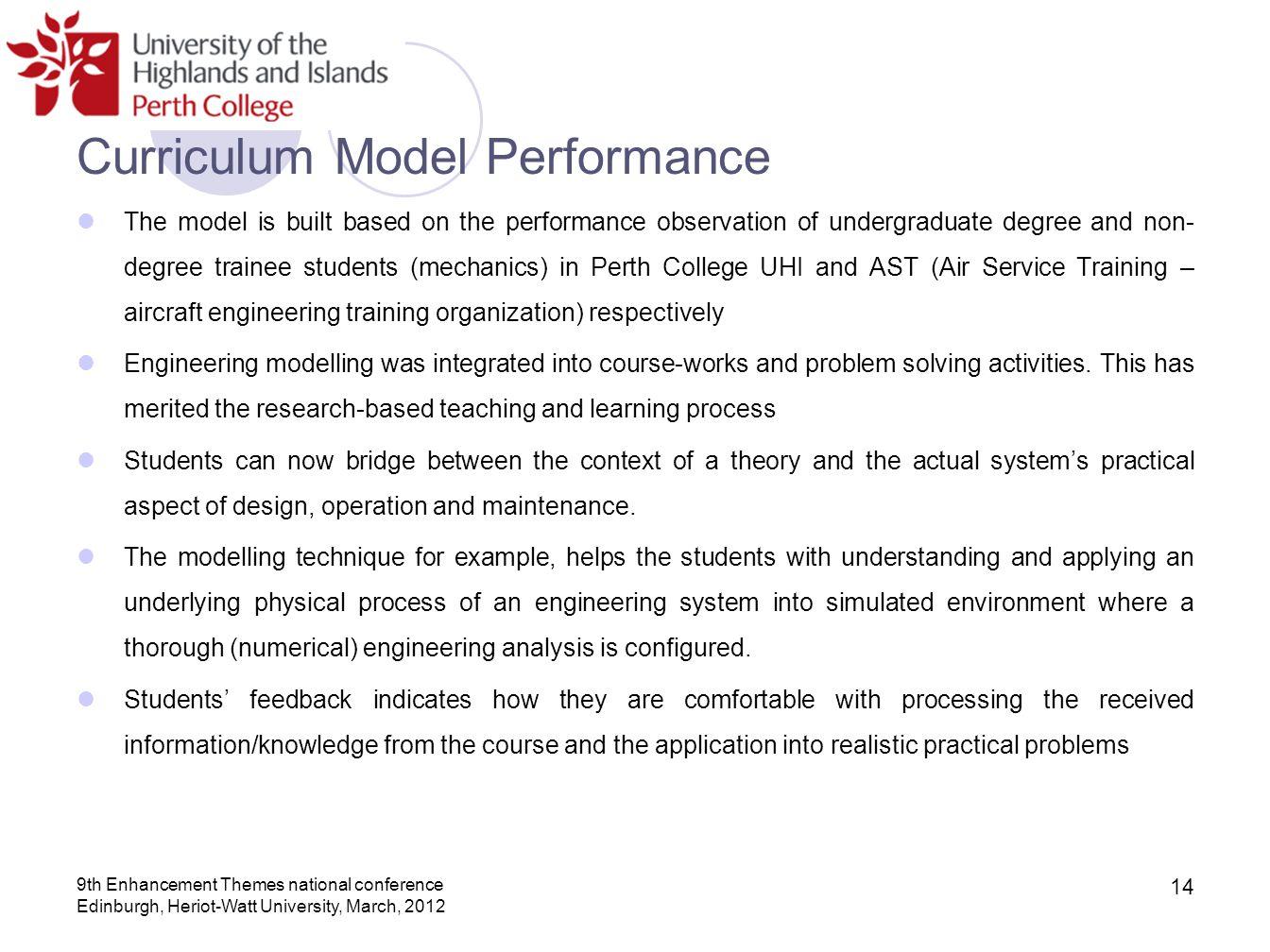 Curriculum Model Performance