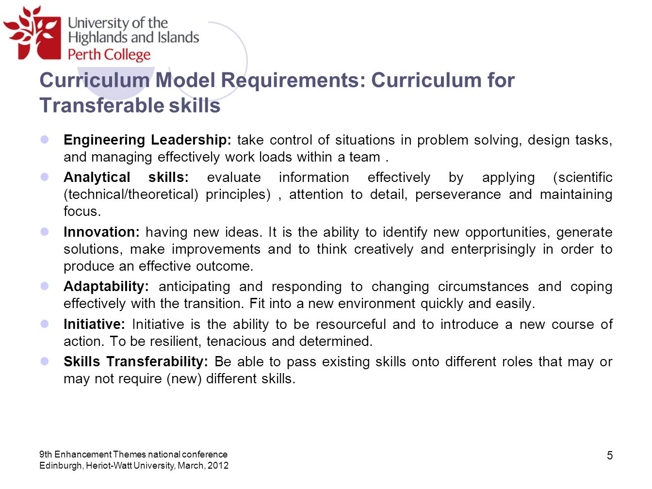 Curriculum Model Requirements: Curriculum for Transferable skills