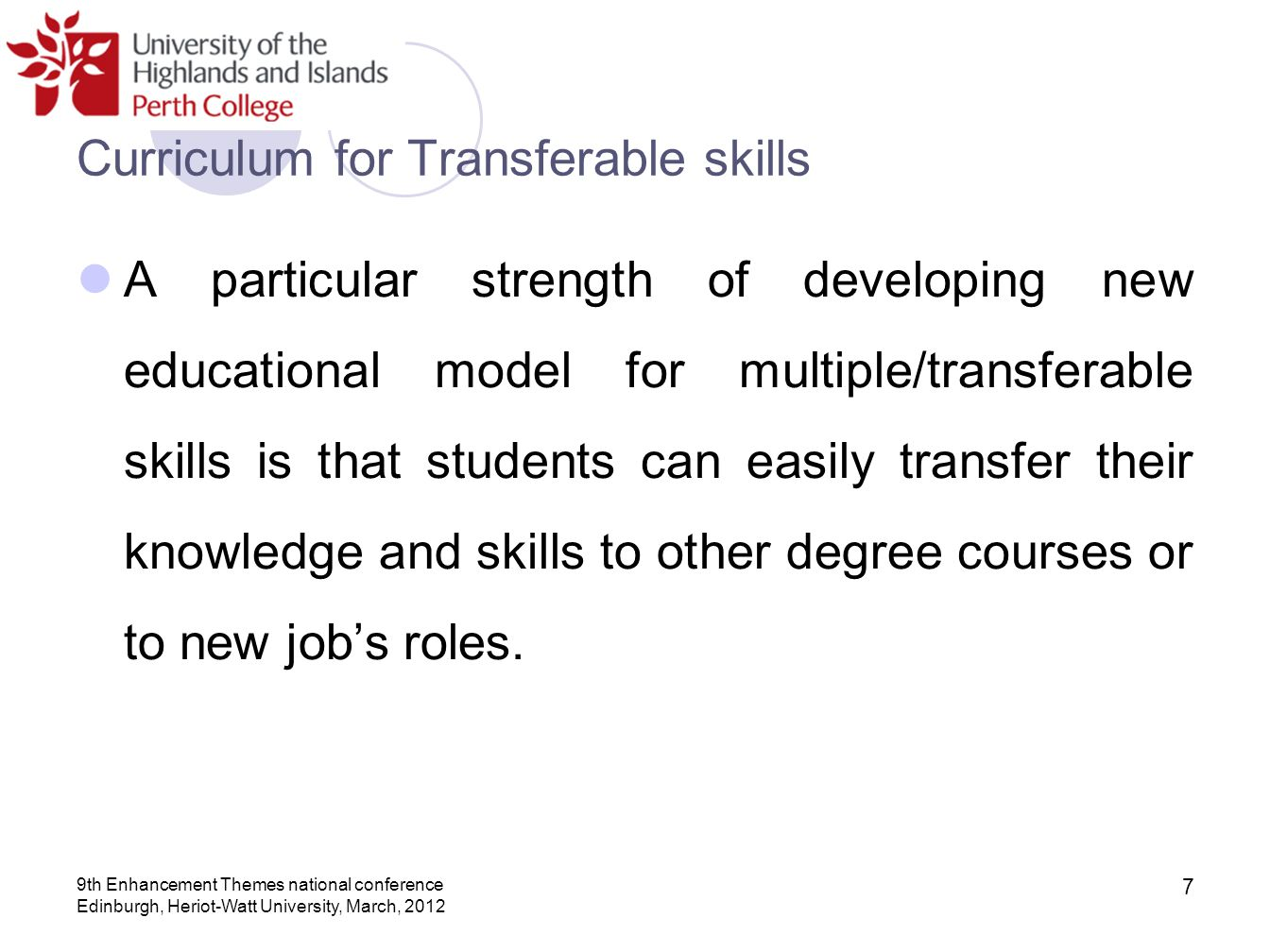 Curriculum for Transferable skills