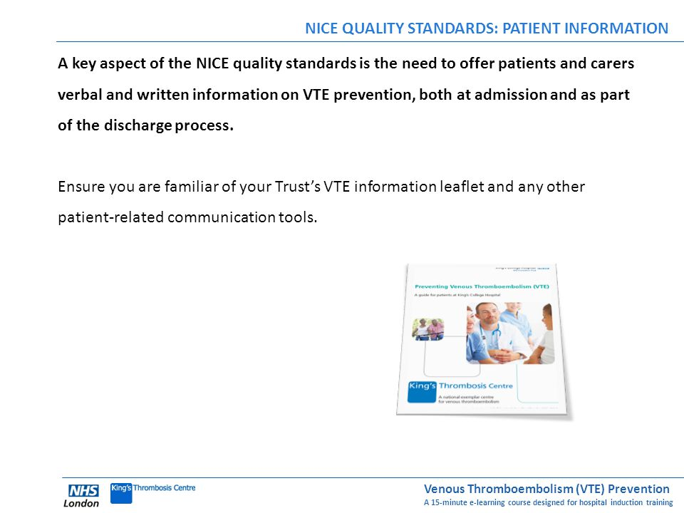 NICE QUALITY STANDARDS: PATIENT INFORMATION