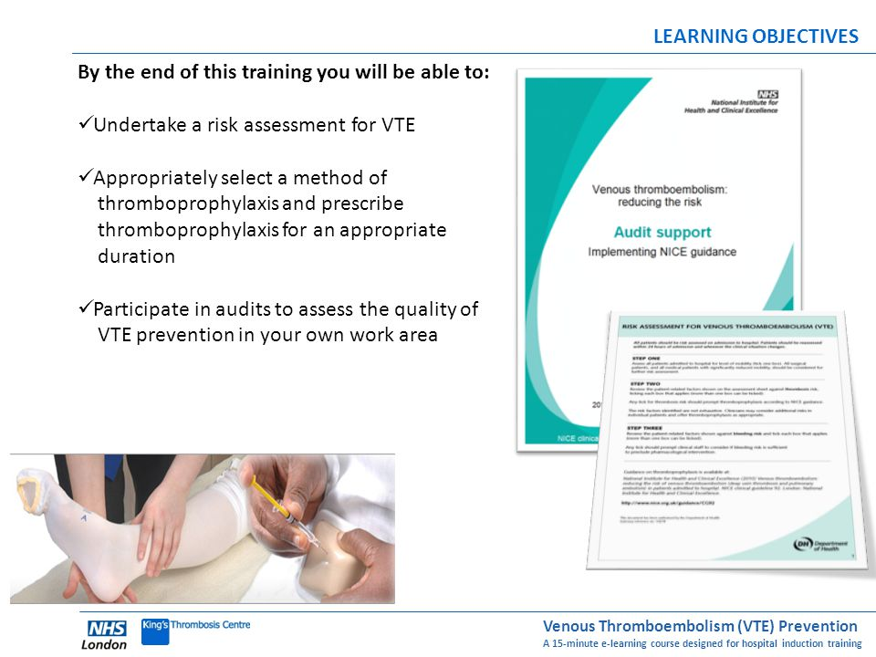 LEARNING OBJECTIVES By the end of this training you will be able to: Undertake a risk assessment for VTE.