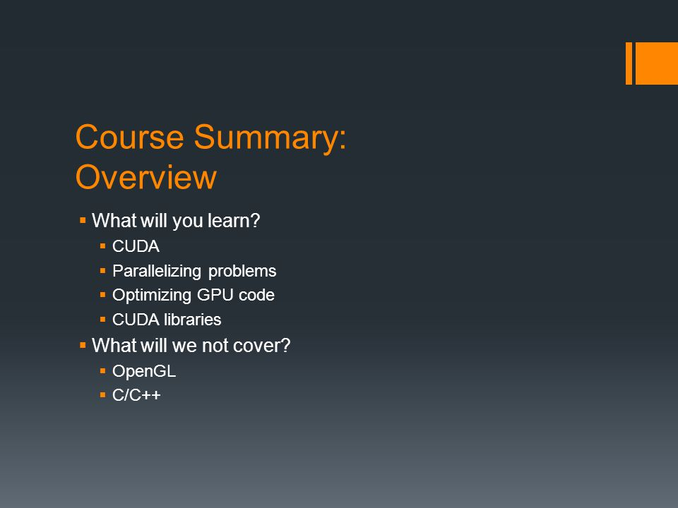 Course Summary: Overview