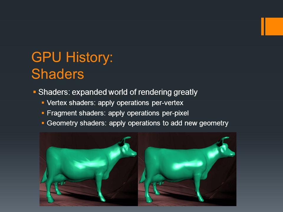 GPU History: Shaders Shaders: expanded world of rendering greatly