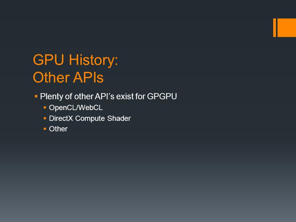 GPU History: Other APIs