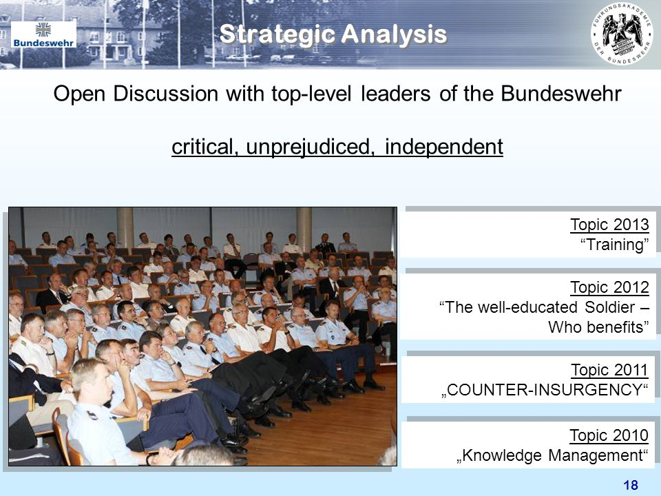 Strategic Analysis Open Discussion with top-level leaders of the Bundeswehr. critical, unprejudiced, independent.