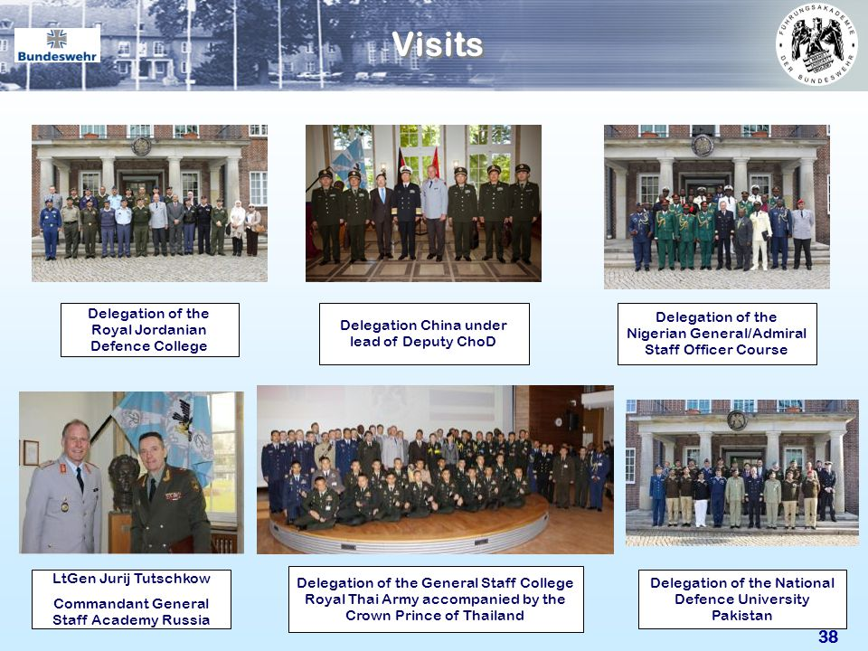 Visits For the Führungsakademie the national and international visits are an honour. Like your visit to the academy as well.