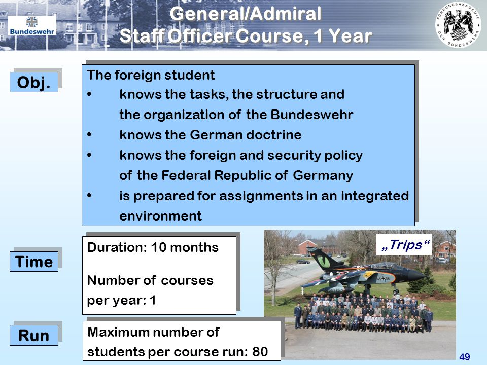 General/Admiral Staff Officer Course, 1 Year
