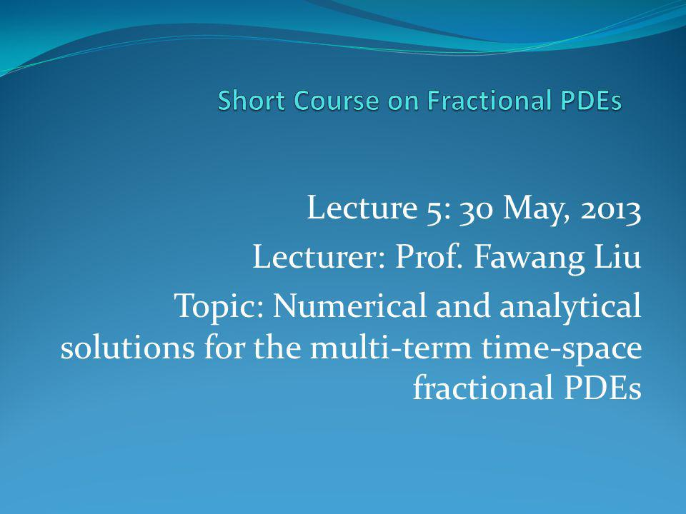 Short Course on Fractional PDEs