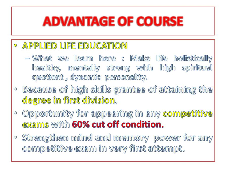 ADVANTAGE OF COURSE APPLIED LIFE EDUCATION