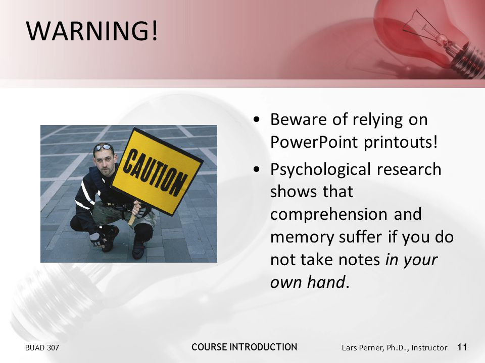 WARNING! Beware of relying on PowerPoint printouts!