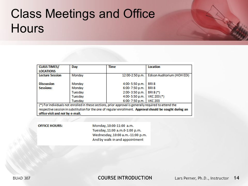 Class Meetings and Office Hours