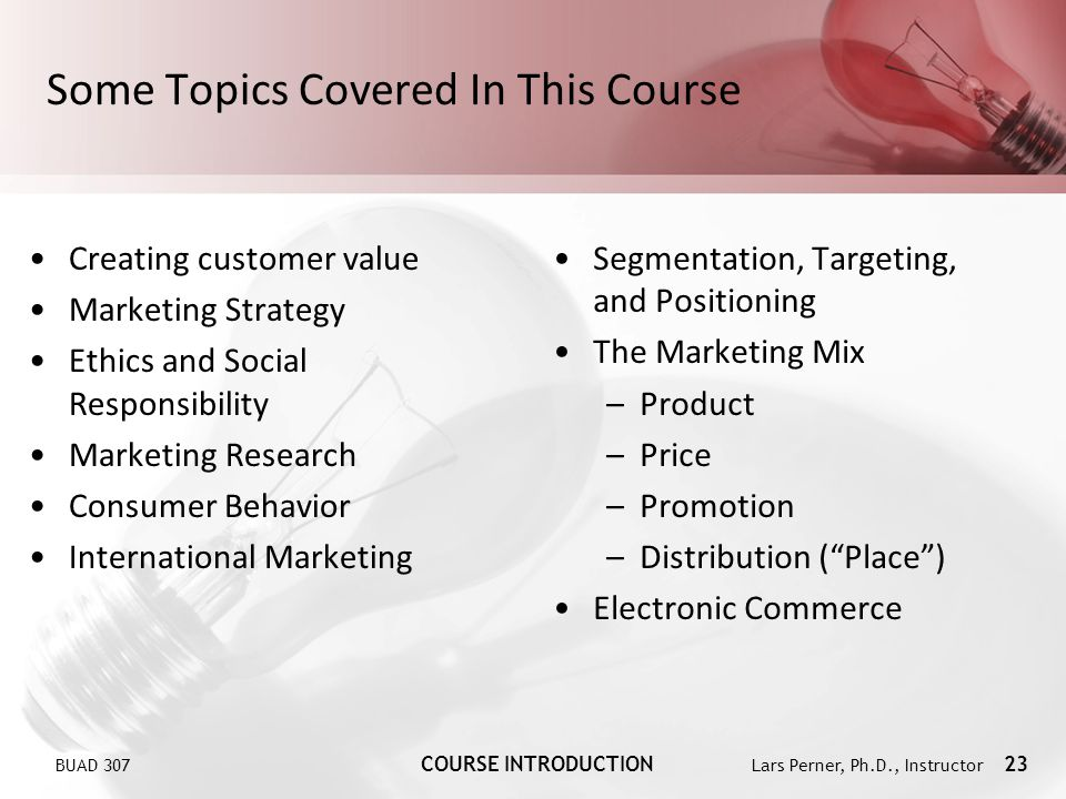 Some Topics Covered In This Course