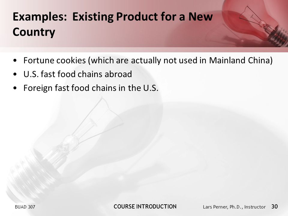 Examples: Existing Product for a New Country