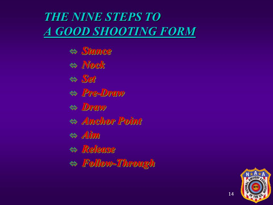 THE NINE STEPS TO A GOOD SHOOTING FORM