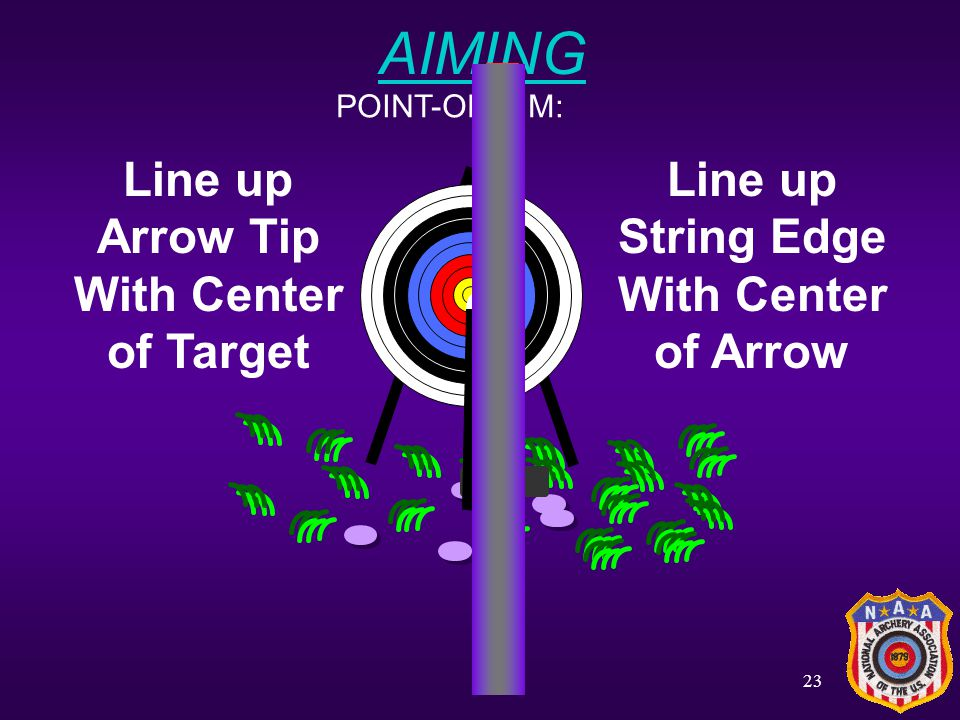 AIMING Line up Arrow Tip With Center of Target Line up String Edge