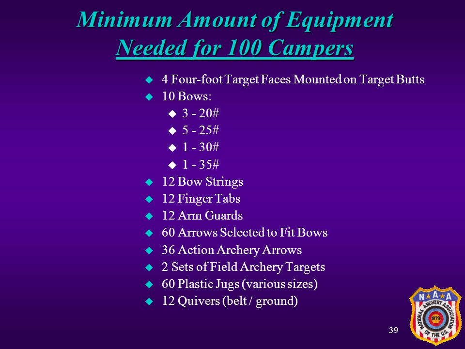 Minimum Amount of Equipment Needed for 100 Campers