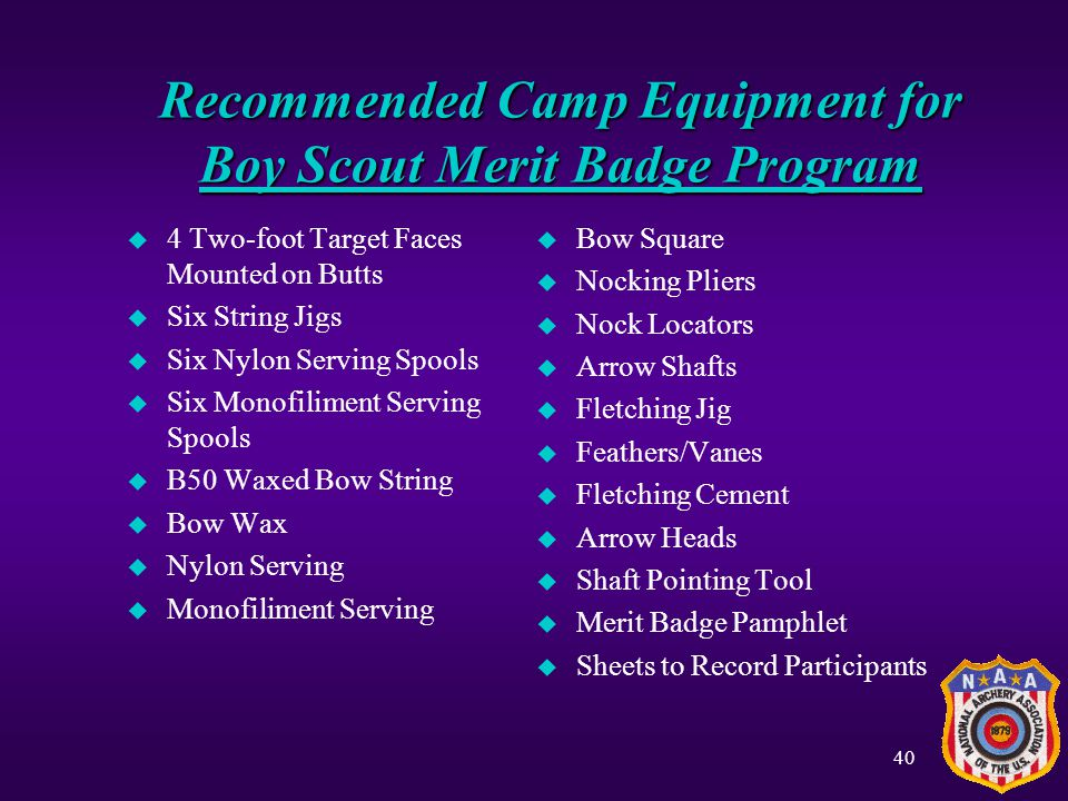 Recommended Camp Equipment for Boy Scout Merit Badge Program