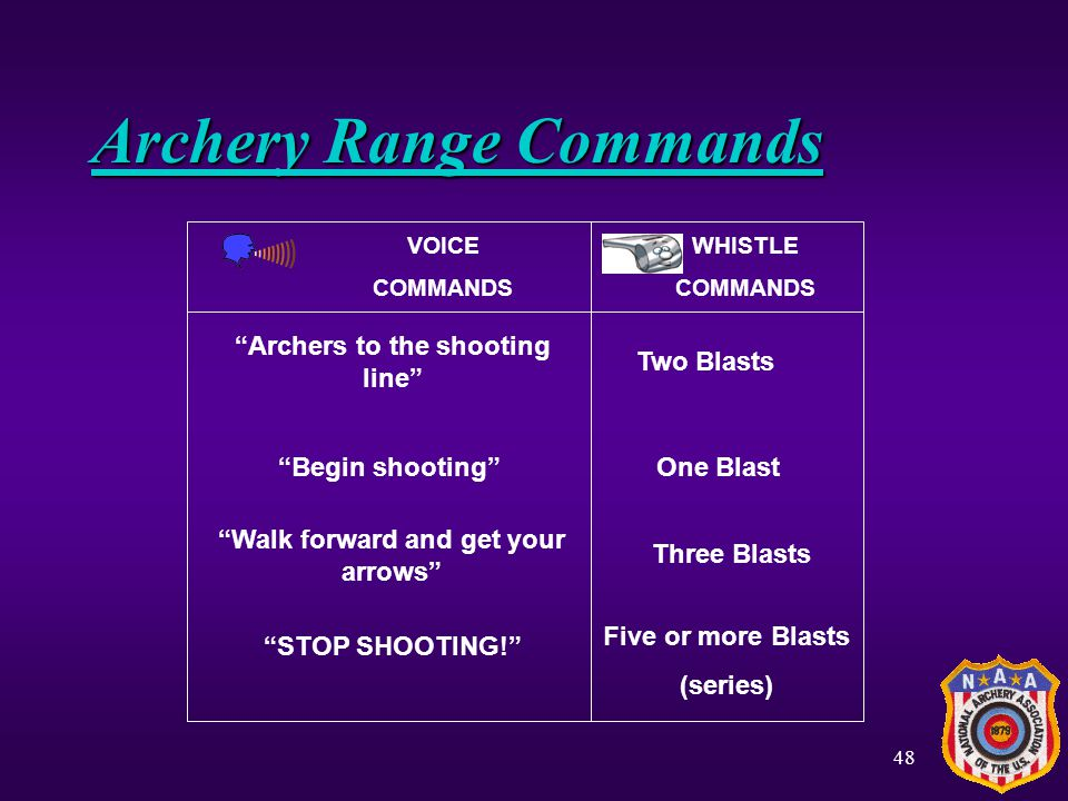 Archers to the shooting line Walk forward and get your arrows