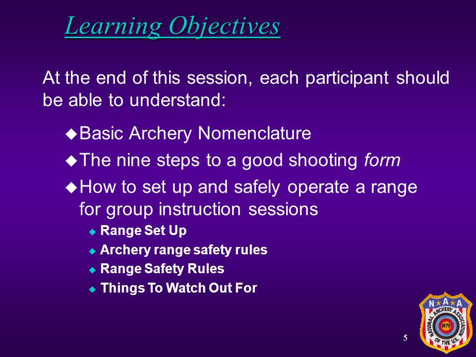 Learning Objectives At the end of this session, each participant should be able to understand: Basic Archery Nomenclature.