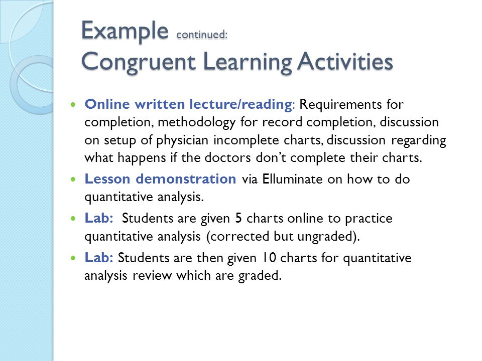 Example continued: Congruent Learning Activities