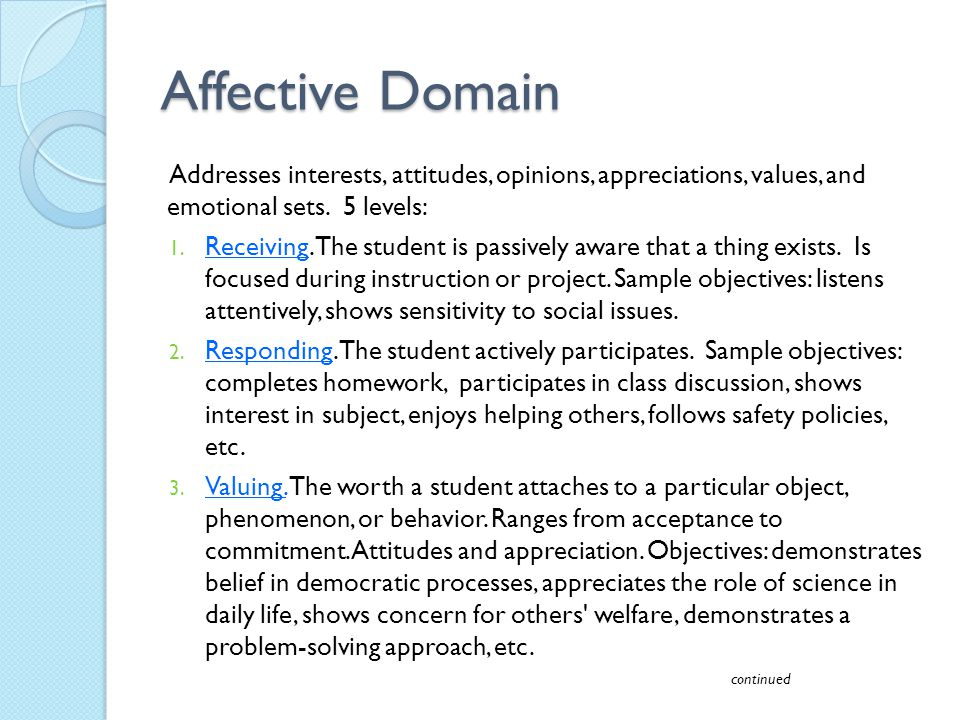 Affective Domain Addresses interests, attitudes, opinions, appreciations, values, and emotional sets. 5 levels: