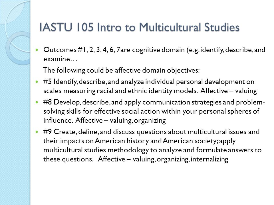 IASTU 105 Intro to Multicultural Studies