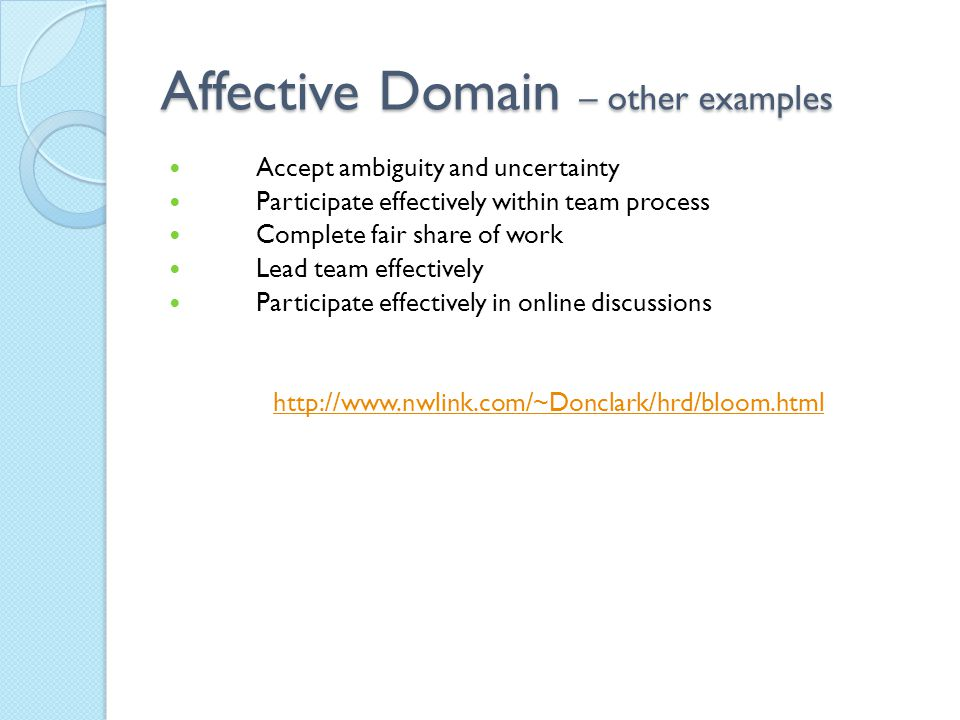 Affective Domain – other examples