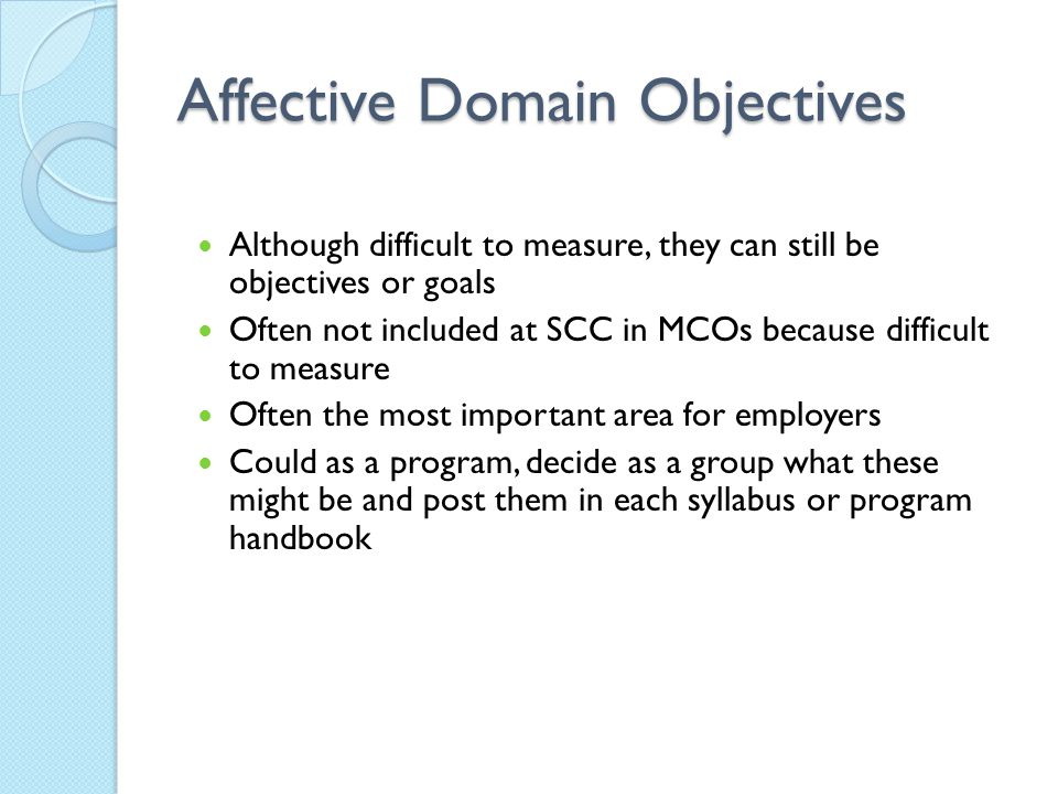 Affective Domain Objectives