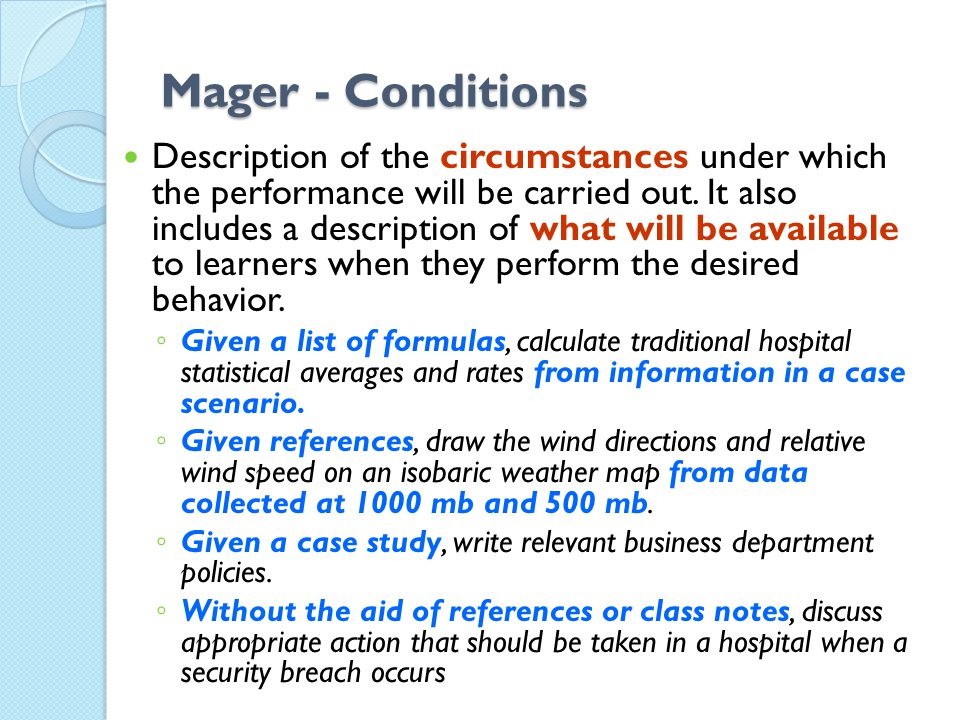 Mager - Conditions