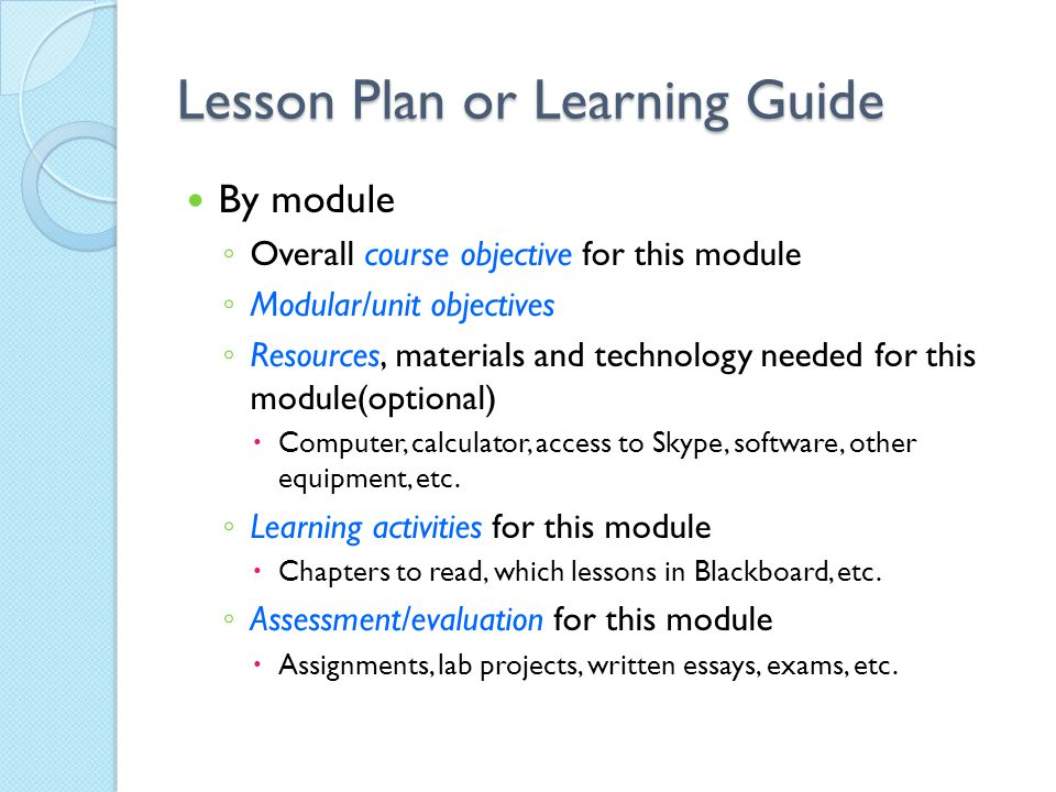 Lesson Plan or Learning Guide