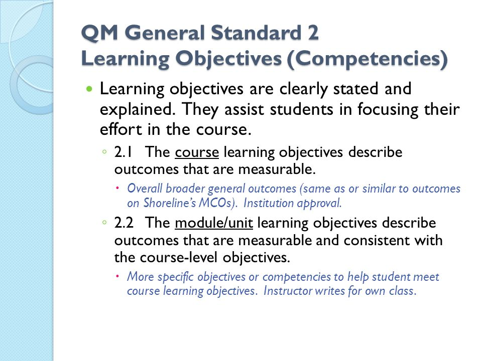 QM General Standard 2 Learning Objectives (Competencies)