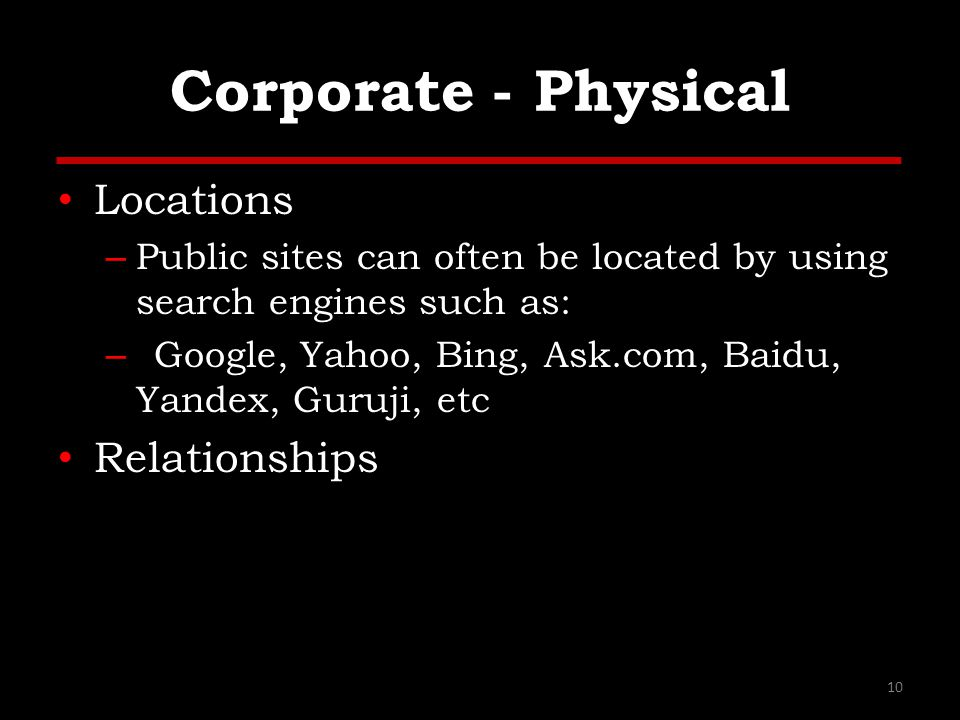 Corporate - Physical Locations Relationships