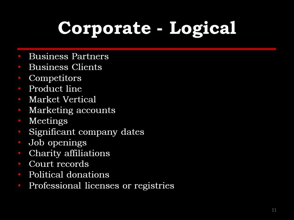 Corporate - Logical Business Partners Business Clients Competitors