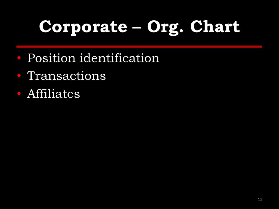 Corporate – Org. Chart Position identification Transactions Affiliates