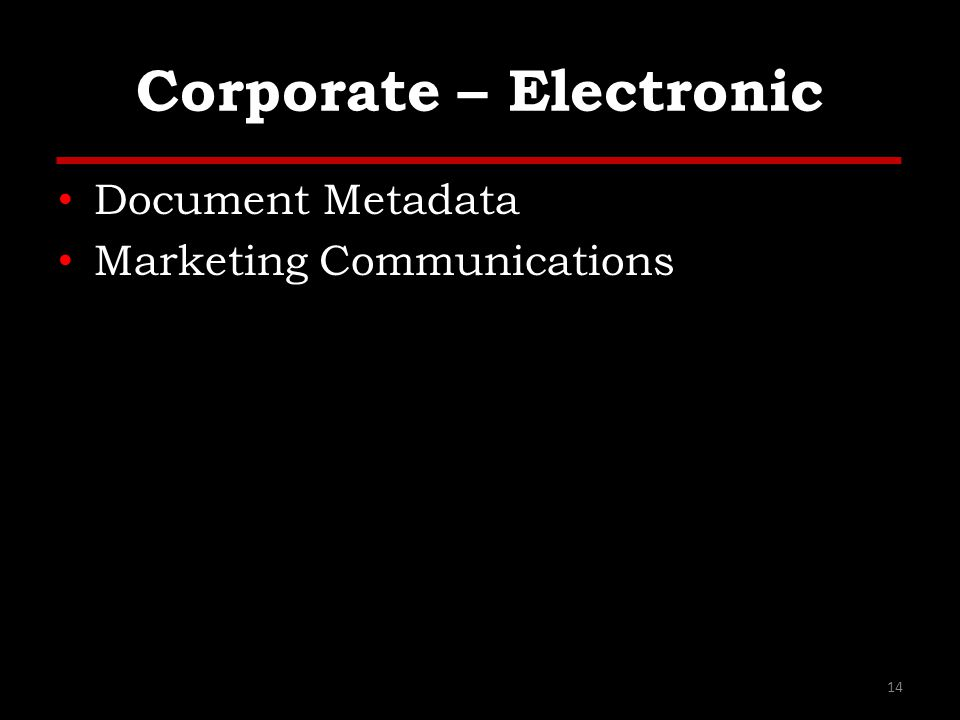 Corporate – Electronic