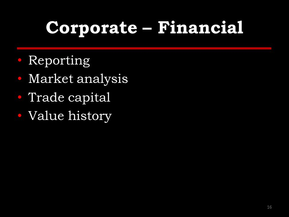 Corporate – Financial Reporting Market analysis Trade capital