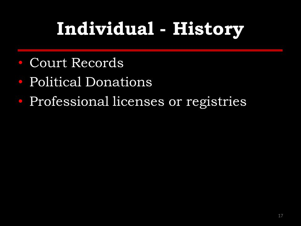 Individual - History Court Records Political Donations